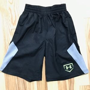 Under Armour Boys Black Athletic Shorts sz XS